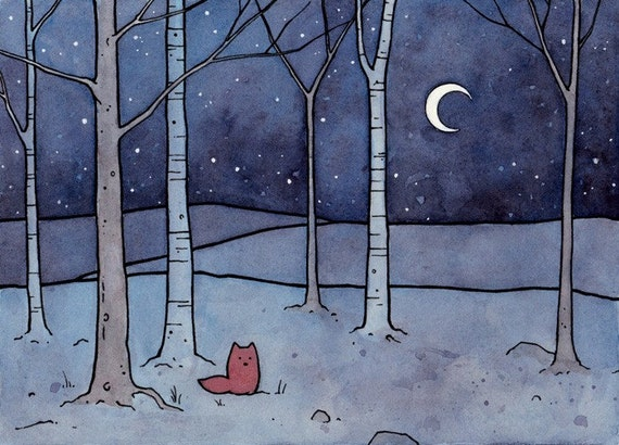 Red Fox and Moon Illustration Print 5x7