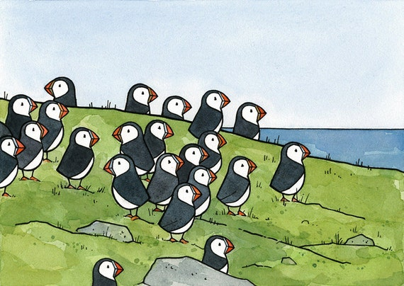 Puffin Colony Watercolor Illustration Print 5x7