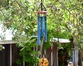 SPIRIT HEART Small Copper Wind Chime with Blue Patina