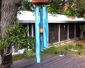 MOUNTAIN Large Copper Wind Chime with Blue Patina
