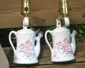 2 Sconces, 40s Porcelain watering can Wall lamps, Antique matched pair, pink Roses