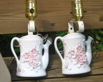 2 Wall Lamps, 40s Sconces, porcelain watering cans, Antique matched pair, pink Roses