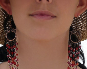 Extra Long Boho Tribal Style  Earrings  Birds w/ Red PInk Glass Beads Antique Bronze Finish Holiday Gift