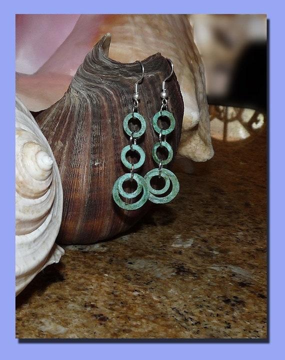 Boho Tribal Copper Patina Earrings ... Small, Delicate, but Earthy ... Woodland Rustic Wedding