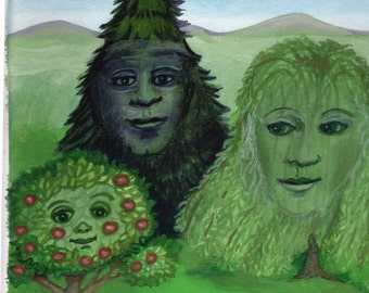 Trees Are Like Family ORIGINAL ILLUSTRATION green tree hugger Arbor Day apple spruce willow anthropomorphic dryad spirit - Free USA shipping