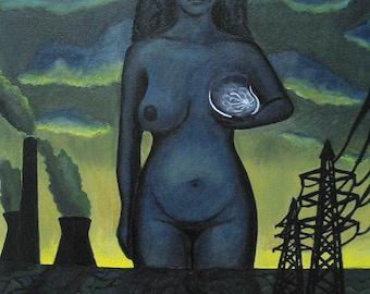 Mammogram Moon original oil painting fine art theme of environment carcinogen pollution radiation xray breast cancer dark - Free US shipping