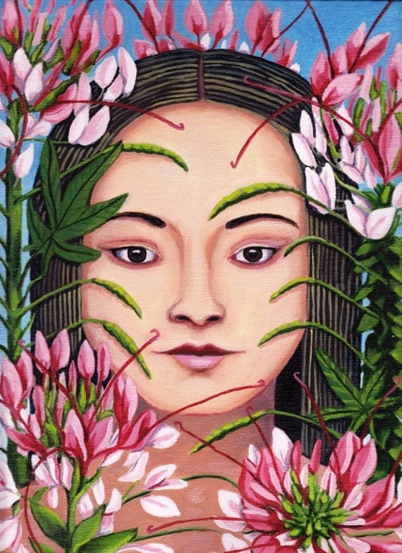 Girl in the Spider Flowers ORIGINAL PAINTING Cleome oil on linen 12x9 pink petals plant spirit Unique Gift for Gardener - Free USA shipping