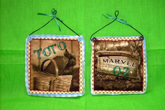 Wizard of Oz Mini Quilts Christmas Ornaments Handmade Great
