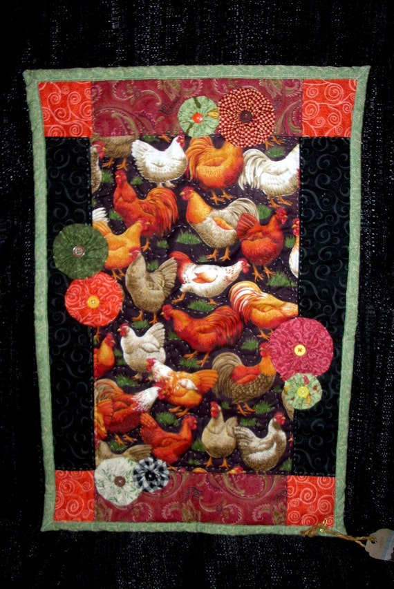 Items Similar To Rooster Amp Chicken Quilt Handmade Kitchen