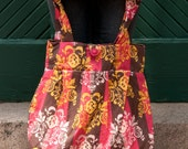 Purse or Project Bag with Striped and Abstract Design Fabric