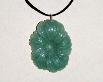 Aventurine Blossom Pendant on Velvet Necklace