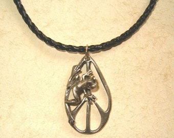 Frog on Peace Necklace