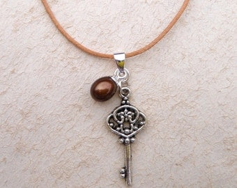 Silver Key and Pearl Necklace