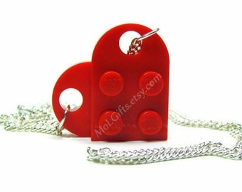 Radiant Red Heart Necklace made from LEGO® Pieces