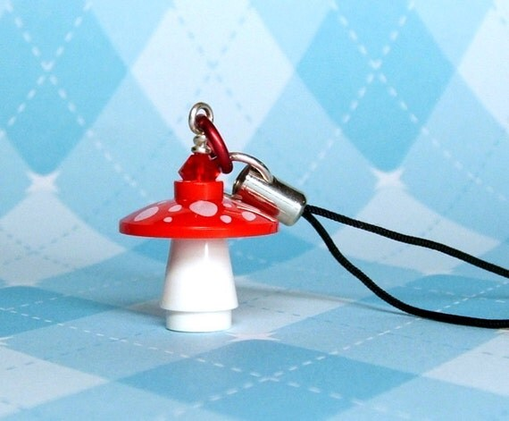 Red Mushroom Cell Phone Charm made with LEGO (r) Pieces