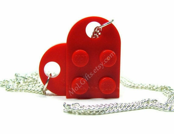Radiant Red Heart Necklace made from LEGO® Heart Pieces