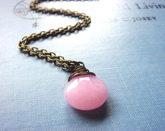 Sugar Kisses, Necklace, Gorgeous Wire Wrapped Pink Jade Pendant, Vintage Inspired, Brass Chain, Jewelry