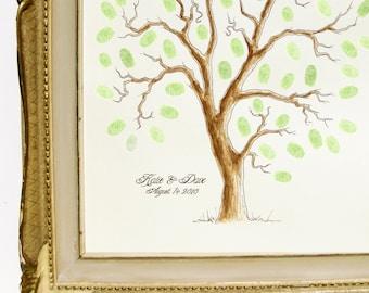 MEDIUM Wedding Tree Guest Book Family Tree 16 x 20 Customizable ORIGINAL watercolor PAINTING Thumbprint Tree up 125 guests