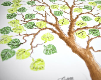 Wedding Tree Guest Book MEDIUM Family Tree Original Watercolor Painting with PRESTAMPED LEAVES