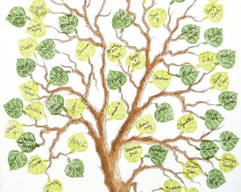 Wedding Tree Guest Book SMALL Family Tree 11 x 14  Original Watercolor Painting with PRESTAMPED LEAVES