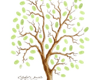 SMALL Wedding Tree Guest Book 11 x 14 Customizable ORIGINAL Watercolor PAINTING Thumbprint Tree