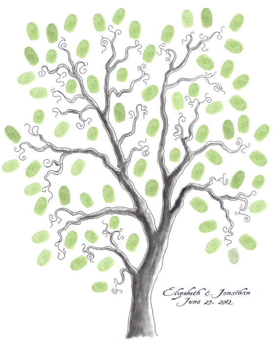 16 x 20 WEDDING TREE GUEST Book Customizable Original Drawing Thumbprint Tree up to 125 guests
