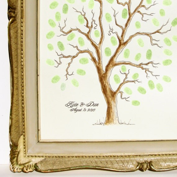 MEDIUM Wedding Tree Guest Book Family Tree 16 x 20 Customizable ORIGINAL watercolor PAINTING Thumbprint Tree up 125 guests