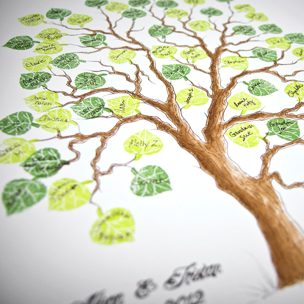 Wedding Tree Genealogy Chart By Melangeriedesign On Etsy: Wedding Tree Guest Book MEDIUM Family Tree Original Watercolor