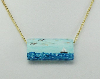 Sailboat on the Ocean Necklace, Hand Painted Pendant, Nautical Jewelry