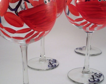 Crabs and Anchors, hand painted wine glasses, nautical glassware, crab glasses, painted glasses, set of 4 Made to Order