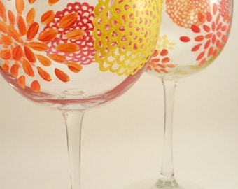 Mums in bright colors, flower wine glasses, you pick the colors, hand painted wine glasses, set of 2