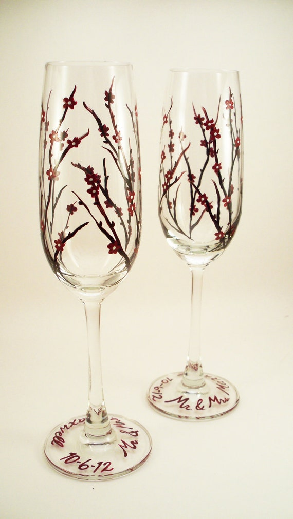 Fall wedding hand painted champagne flutes, customized toasting flutes - set of 2