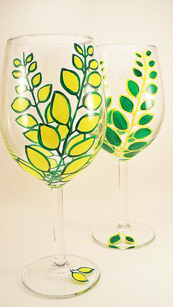Bright green and yellow leaves - hand painted wine glasses - set of 2
