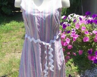 Vintage Pastel Striped Dress with JUMBO Ric Rac Belt  Rainbow Cute dress lounge dress House coat mumu Spring Easter Beachwear COUPON DEAL