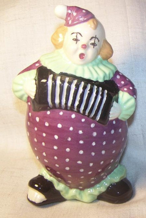 Vintage 1970s CUTE Clown Bank  ceramic purple unique circus fun carnival collectable GIFT novelty collection