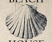 Digital Download for Iron on Transfer Beach House Scalloped Shell