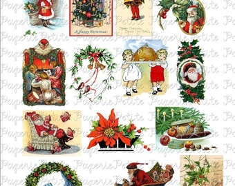 Vintage Christmas Digital Download Collage Sheet