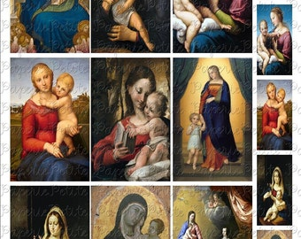 Madonna Virgin Mary Digital Download Collage Sheet D 2.25 x 3.5 Inch