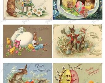 Vintage Easter Postcards Digital Download Collage Sheet D 2.75 x 4 inch