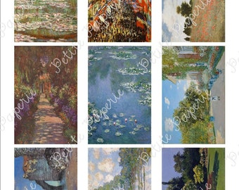 "Monet Digital Download Collage Sheet 3.5"" x 2.25"""