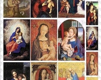 Madonna Virgin Mary Images Digital Download Collage Sheet B 2.25 x 3.5 Inch