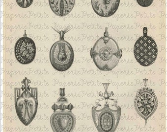 Vintage Lockets Jewelry Digital Download Collage Sheet