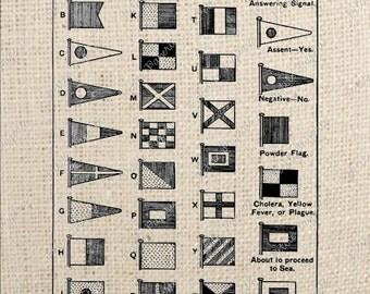 Sailing Naval Flag Alphabet Digital Download or Iron on Transfer