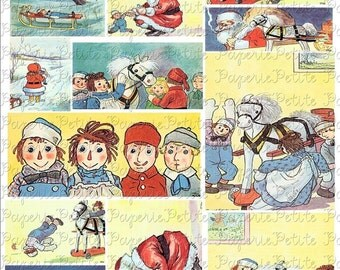 Raggedy Ann and Andy Holiday Digital Download Collage Sheet