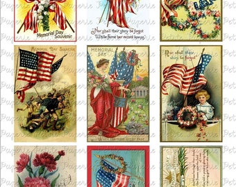 Vintage Memorial Day Postcards Digital Download Collage Sheet 3.5 x 2.25 inch
