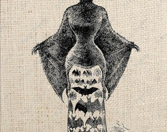 Digital Download Iron on Transfer Halloween Bat Woman