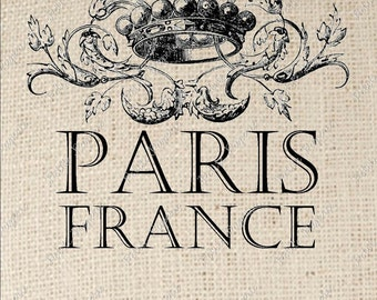 Paris France with Crown Digital Download Iron on Transfer