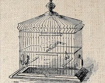 Digital Download Iron on Transfer Bird Cage