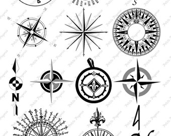 Compass Digital Download Collage Sheet