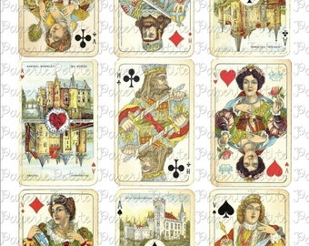 Vintage Playing Cards Digital Download Collage Sheet 2.5 x 3.5 inch